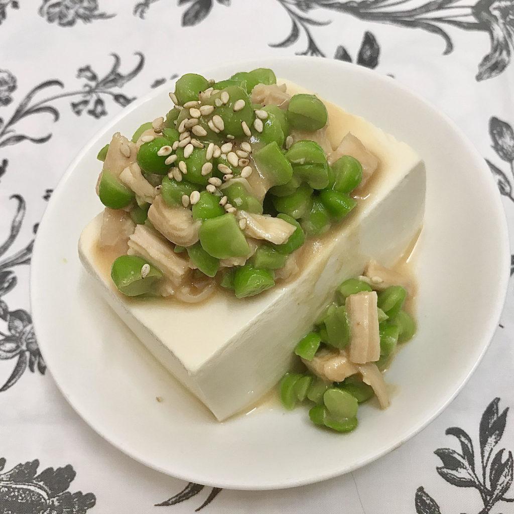 豆腐の枝豆味噌かけ