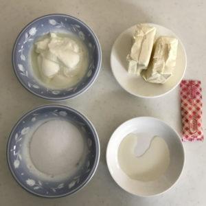 レアチーズケーキタルトのフィリングの材料